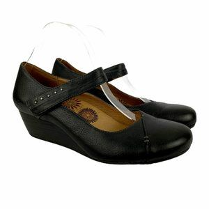 Taos Mary Jane Wedge Shoes Leather Black Comfort